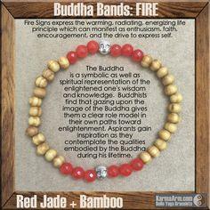 BUDDHA BANDS: FIRE - Jade + Bamboo Yoga Mala Bead Bracelet