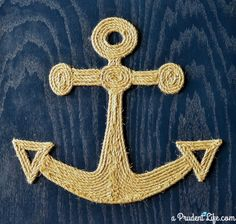 This DIY rope anchor art would be perfect on a green background for Alpha Sigma Tau!
