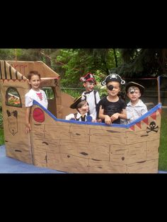 Pirate ship made out of cardboard.......princess & pirate party. #bighit