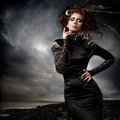 High Fashion Makeup Photography | Stock Photo - High fashion model in black dress, with long nails and ...