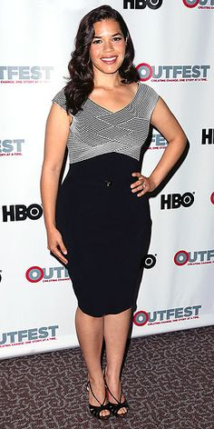 AMERICA FERRERA The actress picks an ensemble that many of us in the office have worn for a night out: a body-con black dress and open-toe sandals, seen at a screening of X/Y in Los Angeles.
