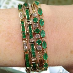 emerald line bracelets, emerald and gold bracelet, emerald tennis bracelet