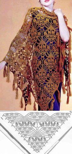 Chal con patrón hermosa ganchillo (sólo esquema) | Oficios y bordados