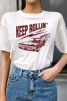 Keep rollin with it. Our newest collection of graphic tees! With distressed, vintage style prints, these are your new go-to wardrobe staple. Retro Outfits, Cute Casual Outfits, Vintage Outfits, Vintage Clothing Styles, Girl Outfits, Summer Outfits, Graphic Tee Style, Graphic Shirts, Cute Graphic Tees