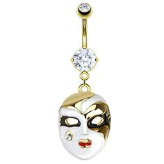 """Beautiful Enameled Mardi Gras Mask With a Tiny Crystal Belly Button Ring, Stainless Steel, 1"""""""