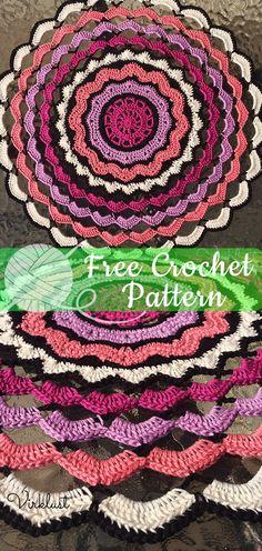 Crochet Mandala Afghan Inspiration 44 Ideas For 2019 Crochet Skirt Pattern, Crochet Mandala Pattern, Crochet Animal Patterns, Doily Patterns, All Free Crochet, Crochet Doilies, Crochet Yarn, Irish Crochet, Baby Boy Crochet Blanket