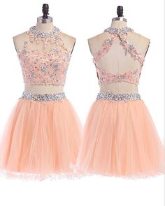 2 Piece Homecoming Dress,Short Homecoming Dresses,Tulle Homecoming Gown,Blush Pink Homecoming Dress,Beautiful Prom Gown,2 piece Cocktail Dress