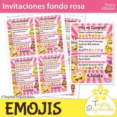 Tarjetas de invitación para cumpleaños con emojis, emoticones o caritas divertidas. Todo listo para editar el texto e imprimir.