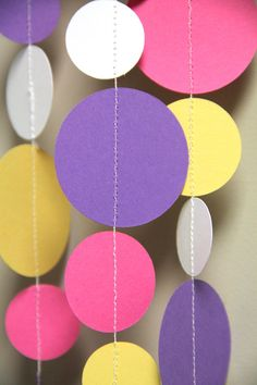 Pink Purple Yellow and White paper circle garland by TaffieWishes, $12.00