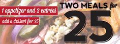 Come in tonight and try our new 2 for $25 Meal Deal. Available now at all Brewhouse locations.