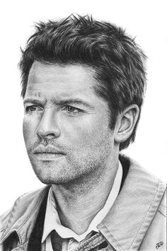 Misha Collins Castiel Angel Supernatural Original Graphite Pencil Drawing SPN #Realism