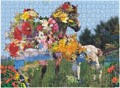 Untitled #10 by Kent Rogowski. Love is a series of surreal and spectacular landscape photographs that were created using pieces from jigsaw puzzles. Since manufacturers occasionally use the same die to cut more than one puzzle, I was able to use each piece in its proper position within the grid of the puzzle. I deconstructed the original idyllic images first by removing flowers and skies from each puzzle and then by re-combining them to form disorienting and fractured montages.