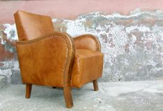 Art Deco Leather Upholstered Armchair.