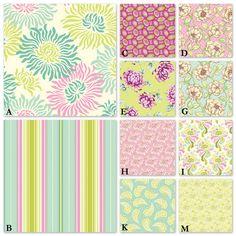 Custom Crib Bedding you Design - Pick your own fabrics - FreshCut in Aqua, Lime and Pinky Purple. $238.00, via Etsy.