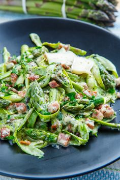 Creamy Brie Asparagus Noodle and Pancetta Carbonara ~ Option: Replace the Pancetta with bacon. Option: Replace the 2 eggs with heavy cream or 8 ounces peeled Brie. Best Pasta Recipes, Vegetable Recipes, Vegetarian Recipes, Cooking Recipes, Healthy Recipes, Veggie Meals, Cooking Ideas, Food Ideas, Best Asparagus Recipe