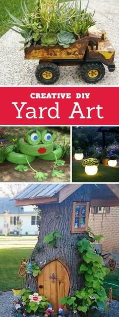 Creative ways to add color and joy to a garden, porch, or yard with DIY Yard Art and Garden Ideas! Repurposed ideas for the backyard. Fun ideas for flower gardens made from logs, bikes, toys, tires and other old junk. ~ LivingLocurto.com
