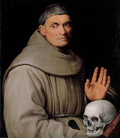 """""""For you are dust, and to dust you shall return."""" Genesis 3:19 // Portrait of a Franciscan Friar / Retrato de un fraile franciscano // c. 1540–1542 // Jacopo Bassano (Jacopo dal Ponte) // The skull, a reminder of the vanity of earthly life, supports the contemplative aspect of the friar's piety, and the pen holder that hangs from the rope at his waist attests to his learning. // © Kimbell Art Museum"""