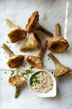 Fried Artichoke Hearts with Tartare Sauce