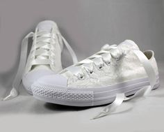 Monochrome White Bridal Converses --Lace Converse -- Wedding Tennis shoes - Wedding Converse For the girl who wears her Converses to every occasion.... why shouldnt you wear them to your wedding?  Skip down the aisle in comfort in these beautiful white lace Converses!  Pictured in