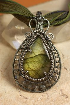 Designs By Kaska, Handcrafted in the U.S. Fine Art JewelryWire-Wrapped and Woven Pendant with Labratorite.