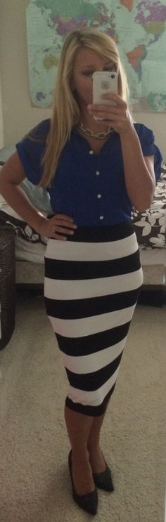 Office look: royal blue blouse - Banana Republic | black and white stripped pencil skirt- Target | gold link necklace- Banana Republic |