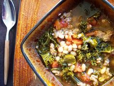 Slow Cooker Italian Sausage, White Bean and Kale Soup by Chef John - Delicious, Gorgeous and so Nutritious with 3 SUPERFOOD ingredients!