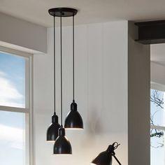 Suspension cascade 3 lumières en métal noir diamètre 32.5cm Priddy
