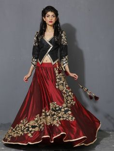oxblood, marsala colored lehenga, black and maroon, jacket style blouse, silk lehenga, edgy lehenga, winter lehenga, sister of the bride, friend of the bride outfits, cocktail lehenga, three quarter sleeve blouse