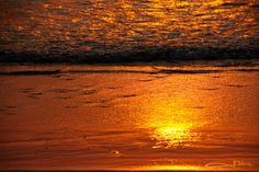 Sunrise colors on water rolling in on beach