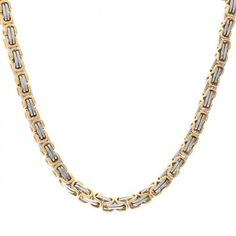 Bling Jewelry 2 Tone Mechanic Style 8mm Mens Link Necklace Gold Plated 20in