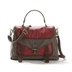 Two Tone Leather Satchel Style Bag