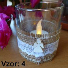 Sklenený svietnik Jarko - Sviečka - S čajovou sviečkou LED (plus 1€), Vzor - Vzor 4