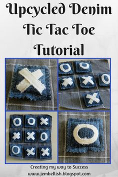 Upcycled Denim Tic Tac Toe Tutorial - A Noughts and Crosses Game. A simple game to make with fabric scraps and carry with you to keep the kids amused at any time!