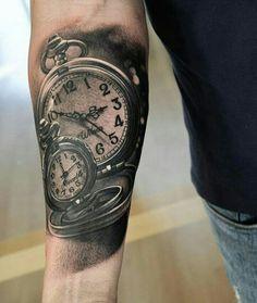 Smooth work by Time Clock Tattoo, Clock Tattoo Sleeve, Time Piece Tattoo, Tattoo Arm Frau, Forearm Tattoo Men, Clock Tattoos, Pocket Watch Tattoo Design, Pocket Watch Tattoos, Tattoos For Kids