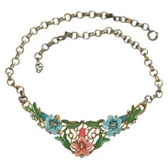 Trifari Pastel Enamel Rhinestone Floral Necklace 1930s from Lee Caplan Vintage Collection at 50% off during the Ruby Lane Red Tag Sale Event beginning Friday, July 31st 8am PST