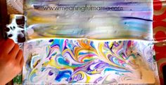 Your kids are going to love making this DIY marbled paper from shaving cream. You know what? It doesn't even have to be an activity for your kids. This marbled paper would be fun for personal stationary too. We love working with shaving cream.