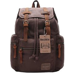 ec5cb0578bc2b Berchirly Vintage Men Casual Canvas Leather Backpack Rucksack Bookbag  Satchel Hiking Bag
