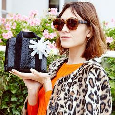 Alexa Chung wearing Zanzan 'Ortolan' sunglasses discussing her new collection with AG Denim http://www.vogue.co.uk/news/2015/01/05/alexa-chung-for-ag-denim-today-im-wearing #zanzan #alexachung #zanzaneyewear #sunglasses