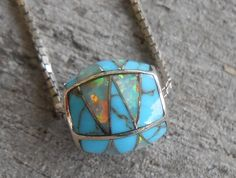 Inlay Turquoise and Opal Bead Pendant by LadyGoneVintage Birth Stones, Beads For Sale, Southwest Style, Triangle Shape, October Birth Stone, I Love Jewelry, Box Chain, Opals, Fashion Necklace