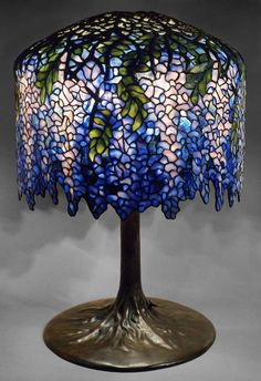 Wisteria Lamp Cool Lamps, Stained Glass Lamps, Candle Lamp, Mosaic Glass, Glass Lamp, Cool Lighting, Stained Glass Mosaic, Tiffany Style Lamp, Tiffany Lamps