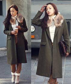 Brown Fur Kara, Minimal Long Coat, Brown Tote Bag, Suede Pants, Suede Wool Ankle Boots