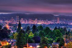 Portland Skyline from Mount Tabor Park (Oregon)