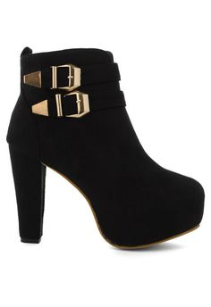 Black buckled ankle boot