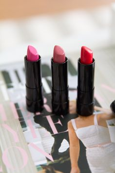 """Lipsticks bare minerals moxie line """"get ready"""" for everyday """"live it up"""" for night """"never say never"""" pink"""