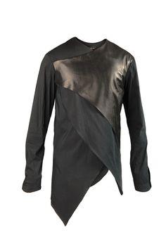 Enfin Levé Spring-Summer 2014 . shirt asymmetrical, metallic front layer, the rest plain black