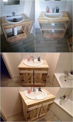 Unlimited Ideas with Old Shipping Wood Pallets is part of Pallet bathroom As you would be making the search around over the old shipping wood pallet projects, you would be probably be finding enchan - Diy Pallet Furniture, Diy Pallet Projects, Bathroom Furniture, Furniture Projects, Wood Projects, Furniture Stores, Cheap Furniture, Garden Furniture, Furniture Design