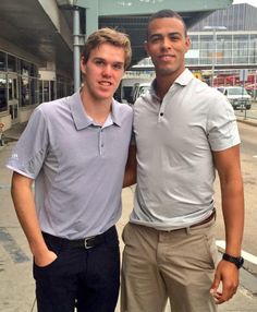 Look who we found at the airport, arriving for the  Orientation Camp! Connor McDavid and Darnell Nurse Connor Mcdavid, Marc Andre, Edmonton Oilers, Montreal Canadiens, Hockey Players, Polo Ralph Lauren, Guys, Savior, Sports