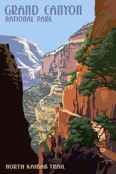 Grand Canyon National Park, Arizona - North Kaibab Trail - Lantern Press Artwork (Art Print Available) National Park Posters, National Parks, Poster Prints, Art Prints, Wpa Posters, Park Art, Grand Canyon National Park, Travel Illustration, Vintage Travel Posters