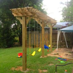 Pergola Swing set DIY // I want to do this and plant some sort of climbing vine to cover it.