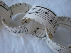 garland out of sheet music and edged with glitter - charming